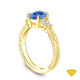 14K Yellow Gold Diamond Accents Set in a Split Shank Setting Blue Sapphire Top View