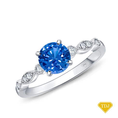 14K White Gold A Marquise Style Setting With Detailed Milgrain Blue Sapphire Top View