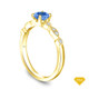 14K Yellow Gold Halo Accents With Intricate Milgrain Design Setting Blue Sapphire Top View