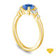 14K Yellow Gold Milgrain Detail Flower Diamond Engagement Ring Blue Sapphire Top View