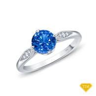 14K White Gold Milgrain Detail Flower Diamond Engagement Ring Blue Sapphire Top View