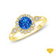 14K White Gold Split Shank Octagenol Double Halo Accents Setting Blue Sapphire Finger View