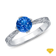 14K White Gold Tapered Double Prong Scroll Design Setting Blue Sapphire Top View