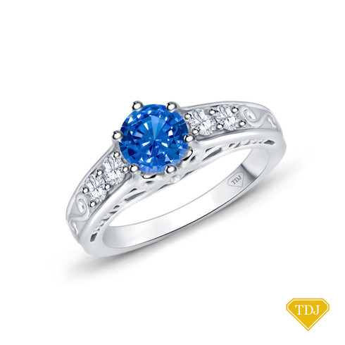 14K White Gold Scroll Filigree Accent Diamond Engagement Ring Blue Sapphire Top View