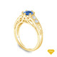 14K Yellow Gold Detailed Scroll Timeless Accents Engagement Ring Blue Sapphire Top View