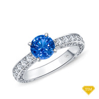 14K White Gold Detailed Scroll Timeless Accents Engagement Ring Blue Sapphire Top View
