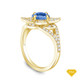 14K Yellow Gold Emerald Sapphire Accents Milgrain Design Vintage Ring Blue Sapphire Top View