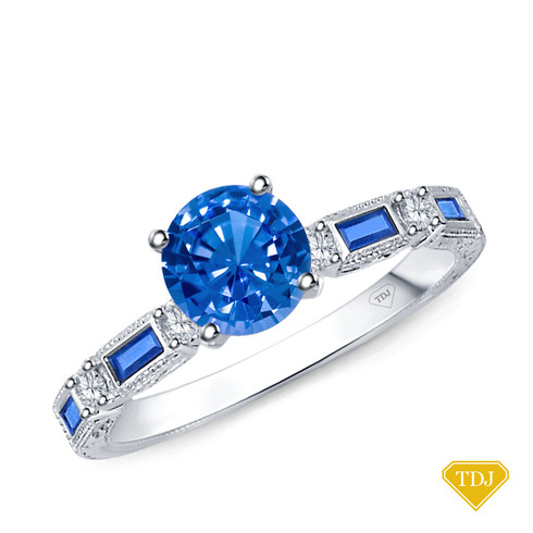 14K White Gold Baguette Sapphire and Round Diamond Accents Ring Blue Sapphire Top View