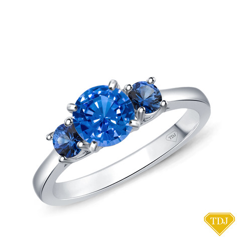 14K White Gold Sapphire Side Stones Three Stone Engagement Ring Blue Sapphire Top View