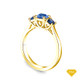 14K Yellow Gold Baguette Side Stones Diamond Engagement Ring Blue Sapphire Top View