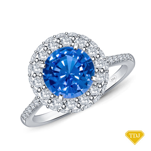 14K White Gold Pave Set Side and Halo Accents Engagement Ring Blue Sapphire Top View