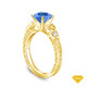 14K Yellow Gold Dual Band Accent Diamond Engagement Ring Blue Sapphire Top View