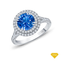 14K White Gold Split Shank Double Halo Accents Engagement Ring Blue Sapphire Top View