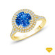 14K White Gold Antique Scroll Halo Style Engagement Ring Blue Sapphire Finger View