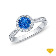 14K White Gold Antique Scroll Halo Style Engagement Ring Blue Sapphire Top View