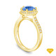 14K Yellow Gold Love Knot With Side Accents Ring Blue Sapphire Top View
