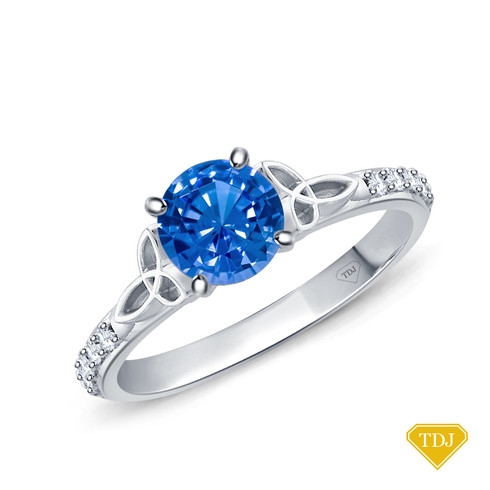 14K White Gold Love Knot With Side Accents Ring Blue Sapphire Top View