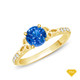 14K White Gold Romancing Love Knot Diamond Solitaire Ring Blue Sapphire Finger View
