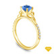 14K Yellow Gold Romancing Love Knot Diamond Solitaire Ring Blue Sapphire Top View