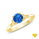 14K White Gold Cascade Waves Style Engagement Ring Blue Sapphire Finger View