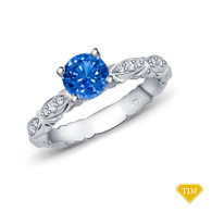 14K White Gold Unique Marquise Design Engagement Ring Blue Sapphire Top View