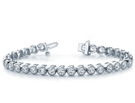 Milgrain Bezel Set Round Cut Diamond Tennis Bracelet