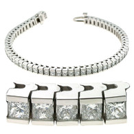 Channel Set Princess Cut Diamond Tennis Bracelet in 14k White Gold