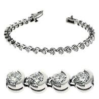 Half Bezel Set Round Cut Diamond Tennis Bracelet