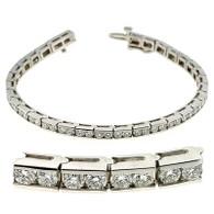 Dual Channel Set Round Cut Diamond Tennis Bracelet