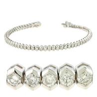 Pentagonal Bezel Set Round Cut Diamond Tennis Bracelet