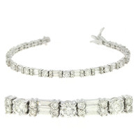 5ctw Round And Baguette Diamond Tennis Bracelet