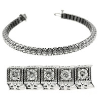 Milgrain Square Basket Round Cut Diamond Tennis Bracelet