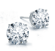 Four Prong Classic Round Cut Diamond Stud Earrings