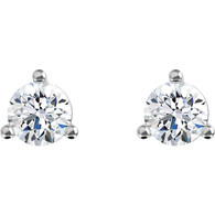 Three Prong Martini Classic Round Cut Diamond Stud Earrings