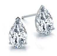 Three Prong Classic Pear Cut Diamond Stud Earrings 14k White Gold
