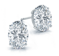Four Prong Classic Oval Cut Diamond Stud Earrings