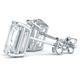 Four Prong Classic Emerald Cut Diamond Stud Earrings in 14k White Gold