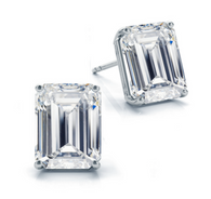 Four Prong Classic Emerald Cut Diamond Stud Earrings in 14k White Gold