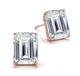 Four Prong Classic Emerald Cut Diamond Stud Earrings in 14k Rose Gold