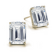 Four Prong Classic Emerald Cut Diamond Stud Earrings in 14k Yellow Gold