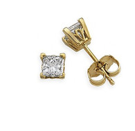 Scroll Design Princess Cut Diamond Stud Earrings
