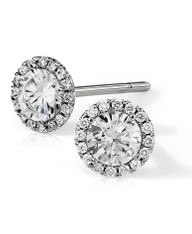 Pave Set Halo Round Cut Diamond Stud Earrings
