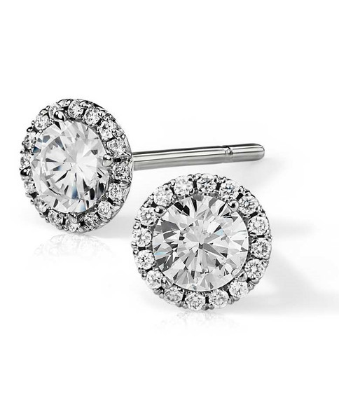 Pave Set Halo Round Cut Diamond Stud Earrings