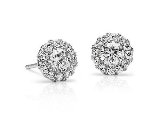 Flower Pave Set Halo Round Cut Diamond Stud Earrings