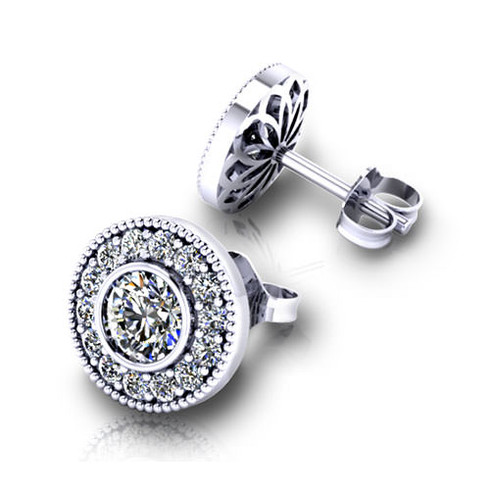 Milgrain Pave Set Halo Round Cut Diamond Stud Earrings