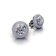 Micro Pave Set Double Halo Round Cut Diamond Stud Earrings