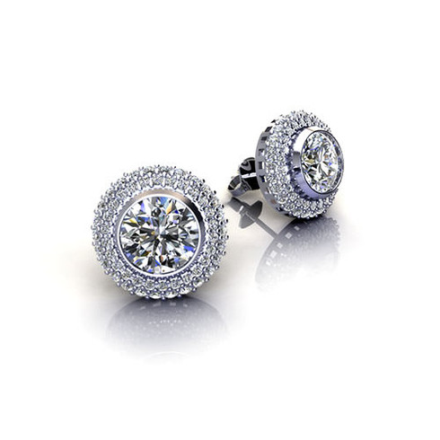 Micro Pave Set Double Halo Round Cut Diamond Stud Earrings