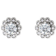 Flower Design Halo Round Cut Diamond Stud Earrings