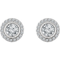 Pave Halo And Center Bezel Set Round Cut Diamond Stud Earrings