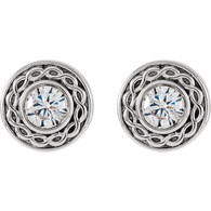 Filigree Halo Design Round Cut Diamond Stud Earrings